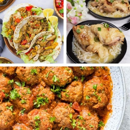 freezer meal recipes with fajitas, meatballs, and chicken dish