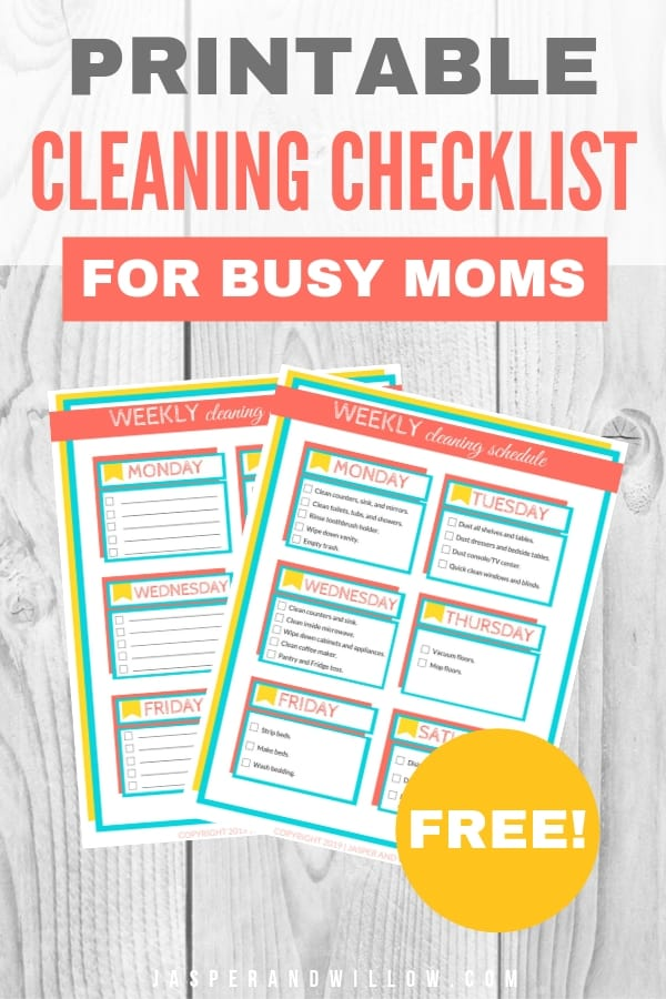photograph relating to Weekly Cleaning Schedule Printable referred to as Uncomplicated Weekly Cleansing Agenda For Occupied Mothers - Printable
