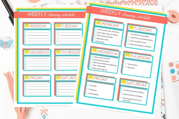 editable weekly cleaning schedule printable on desk