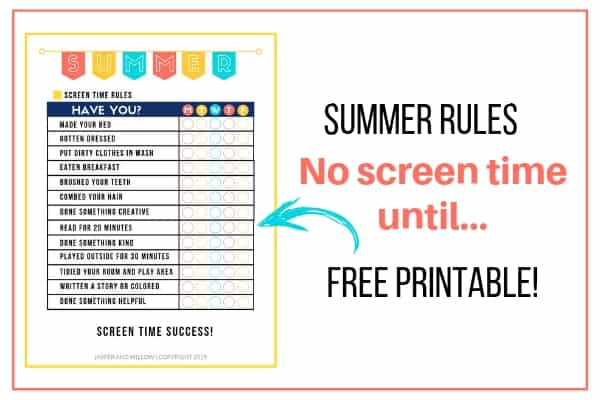 summer rules checklist template no screen time until printable
