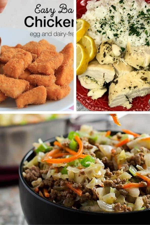 gluten free freezer meals with chicken nuggets, chicken breast, and egg roll in a bowl