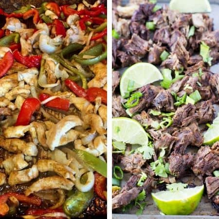 gluten free Mexican freezer meals with fajitas and carnitas
