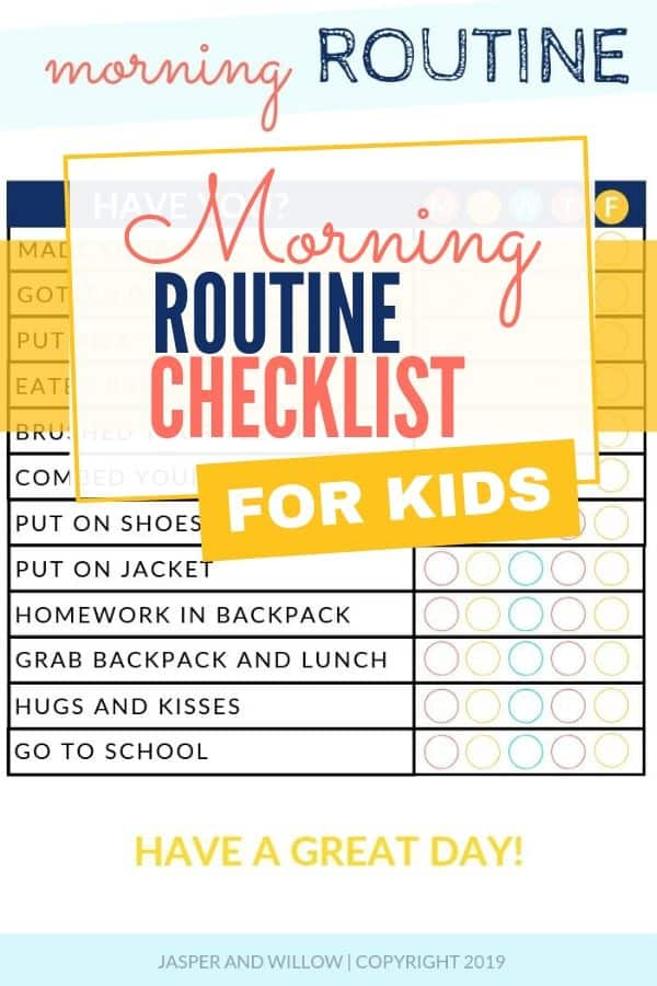 morning routine checklist for kids