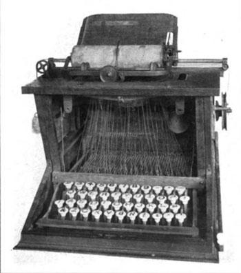 The original QWERTY – Sholes typewriter, 1873. Buffalo History Museum.