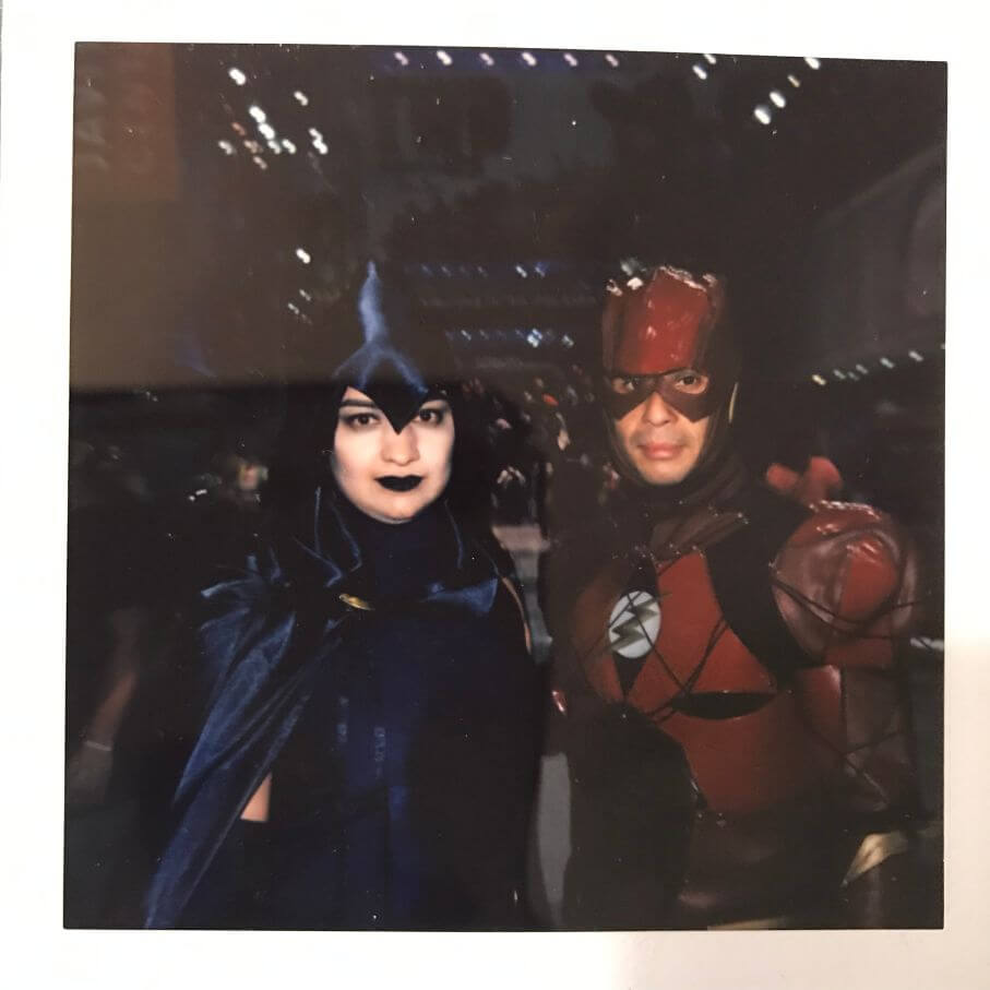raven and flash cosplay at 2018 comic con