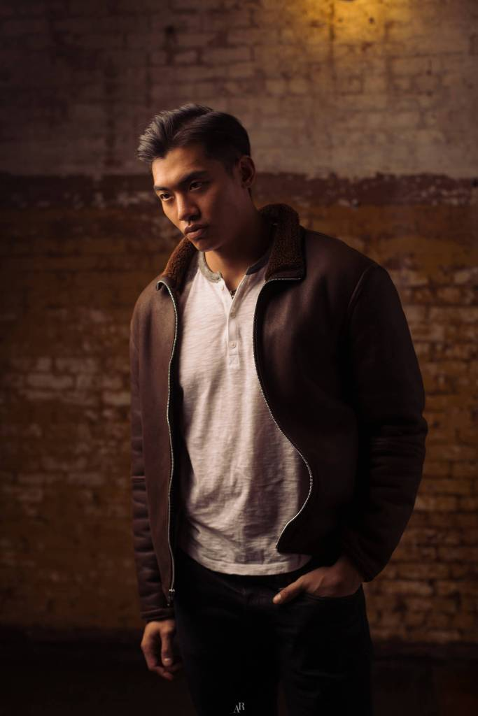 Jasper Yao candid with brown leather jacket shot by axelraphanel