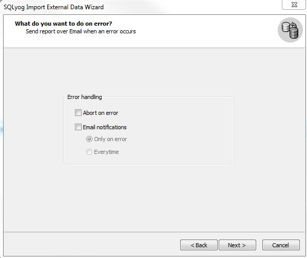 SQLYog Import CSV step 6