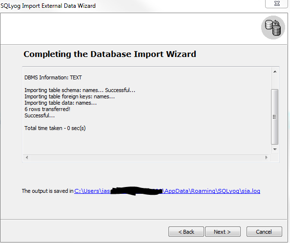 SQLYog import csv step 7