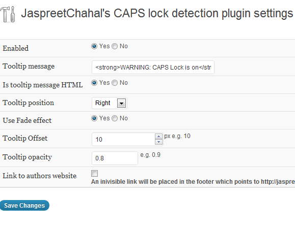 jcwp caps lock detection  settings