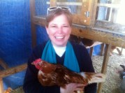 Heather and the chicken