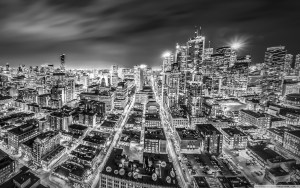 downtown toronto night black and white wallpaper 2560×1600