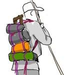 Teckning av mes med fastsurrad packning på ryggen av en man med stav