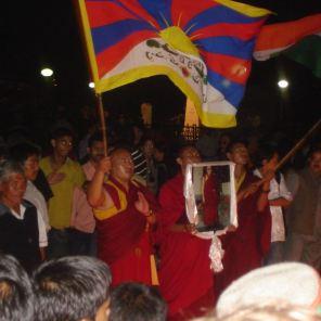 Tibetan demonstration in Shimla. Monks in the front with Tibet flag