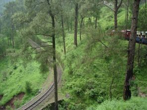 A view from the Shimla Toy Train showing a bend anda the railway lover down