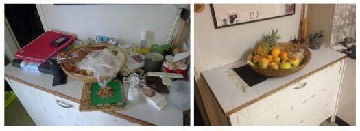 Dubbelbild av vedlår som är fullt belamrad med ting och den högra är städad