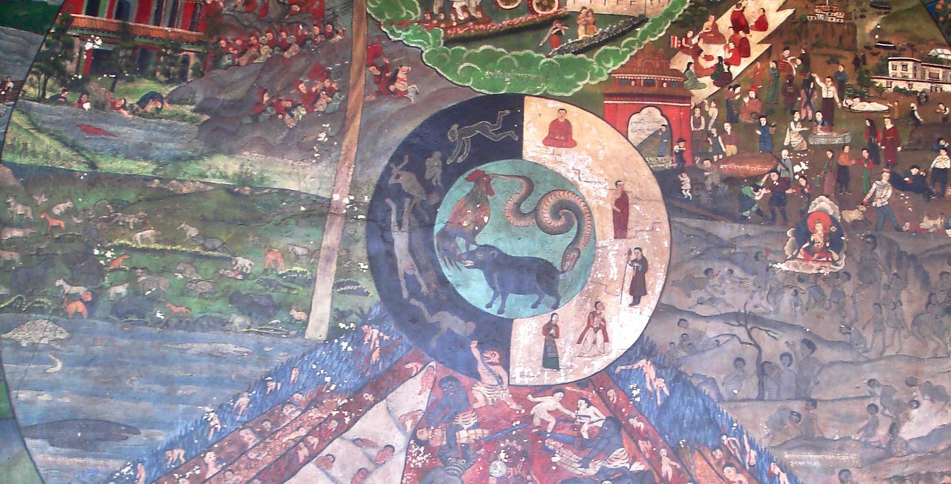 """Del av väggmålning av det Buddhistiska """"Livets Hjul"""""""