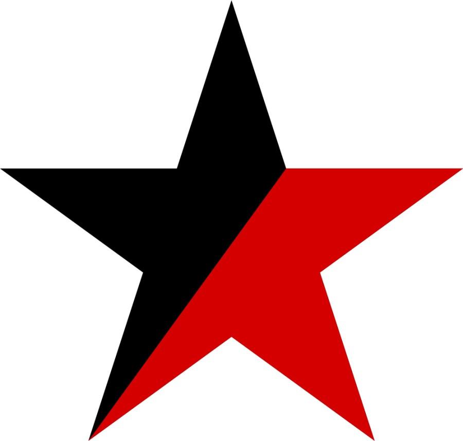 Svart/röd stjärna mot vit bakgrund
