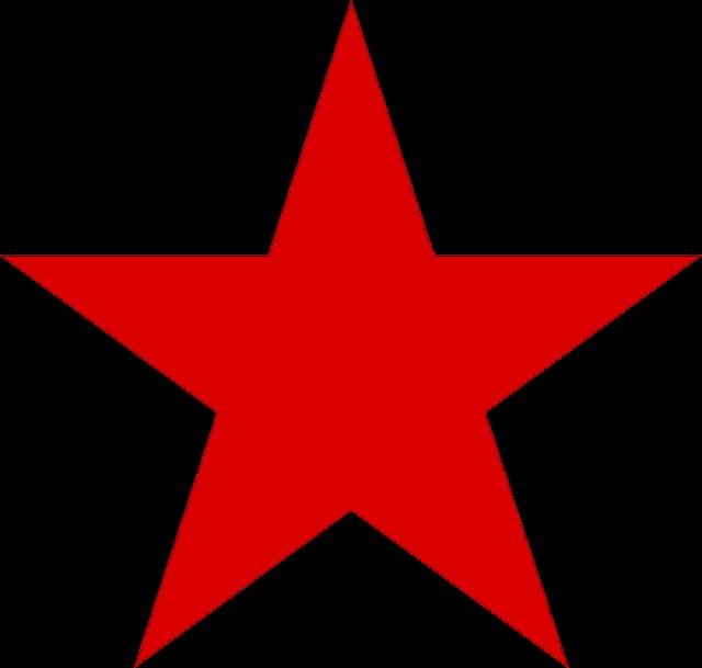 Röd stjärna mot svart bakgrund
