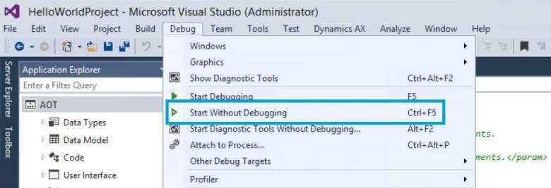 start without debugging ax7