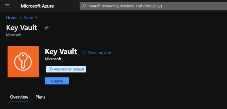 Crear nuevo Key vault en el portal de azure