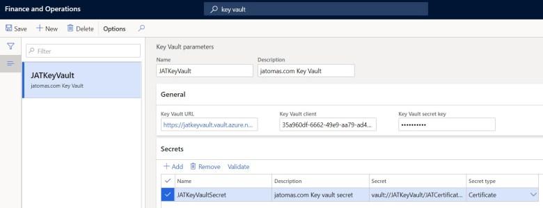 Pámetros de Key Vault en Microsoft Dynamics 365 Finance and Operations