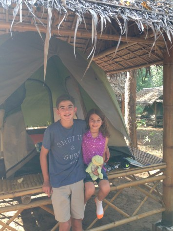 Kids are settled into the home away from home tent