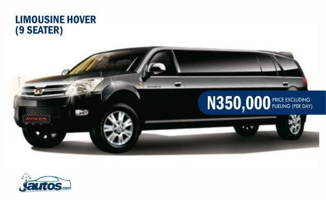 LIMOUSINE HOVER  (9 SEATER)- N350,000 (AMOUNT PER DAY WITHOUT FUELING)