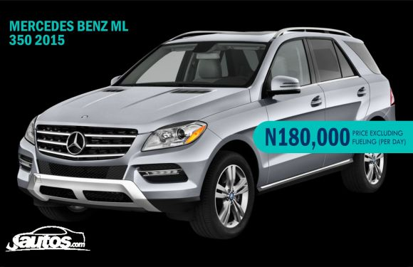 MERCEDES BENZ ML 350 2015- N180,000 (AMOUNT PER DAY WITHOUT FUELING)