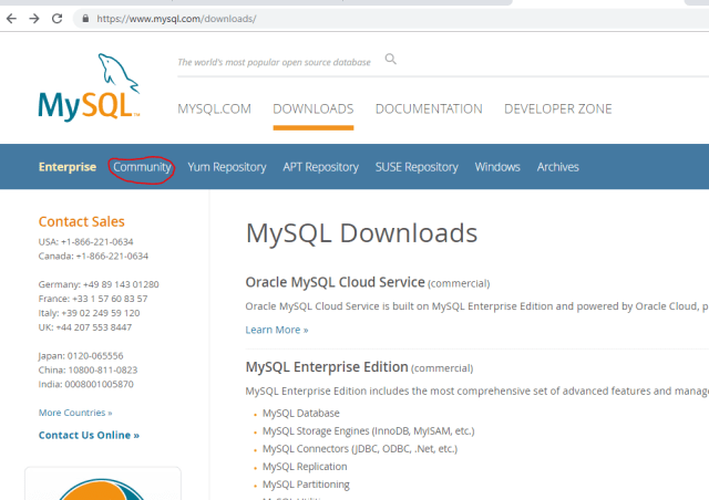 mysql download page