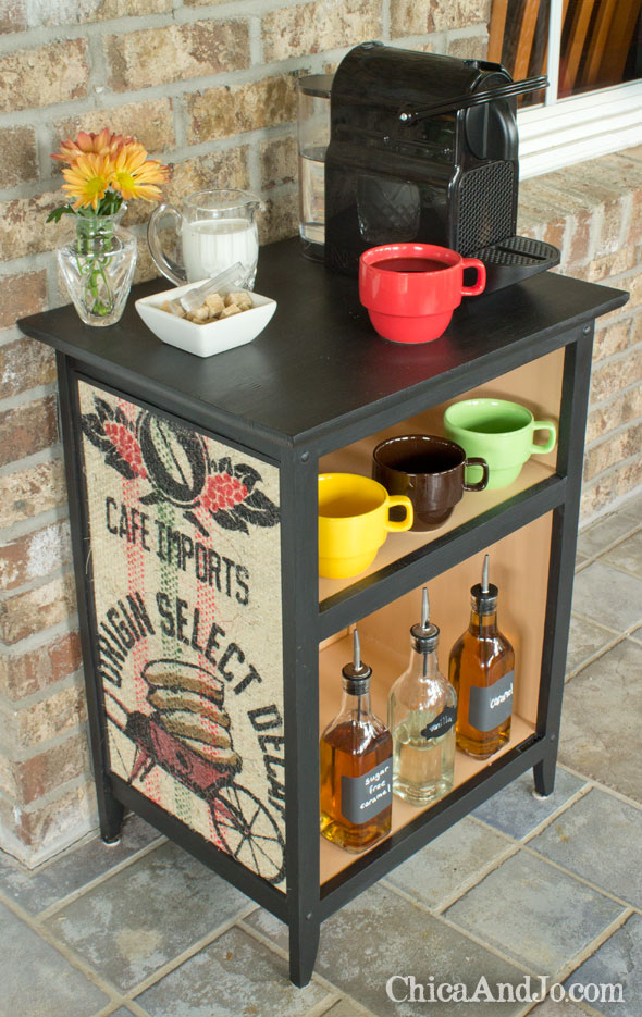 recycling burlap coffee sack into this crafty coffee bar stand