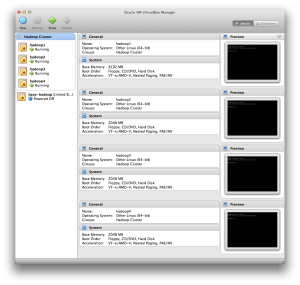 Four Virtual Machines running on VirtualBox, ready to be setup in the Cloudera cluster.