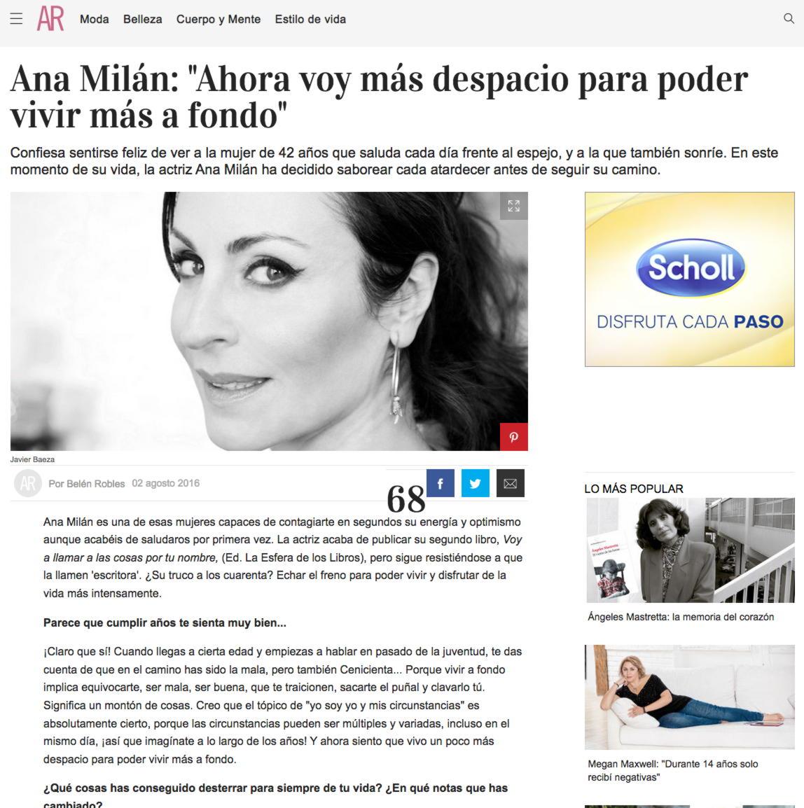 """""""Ana Milán: """"Ahora voy más despacio para poder vivir más a fondo"""""""
