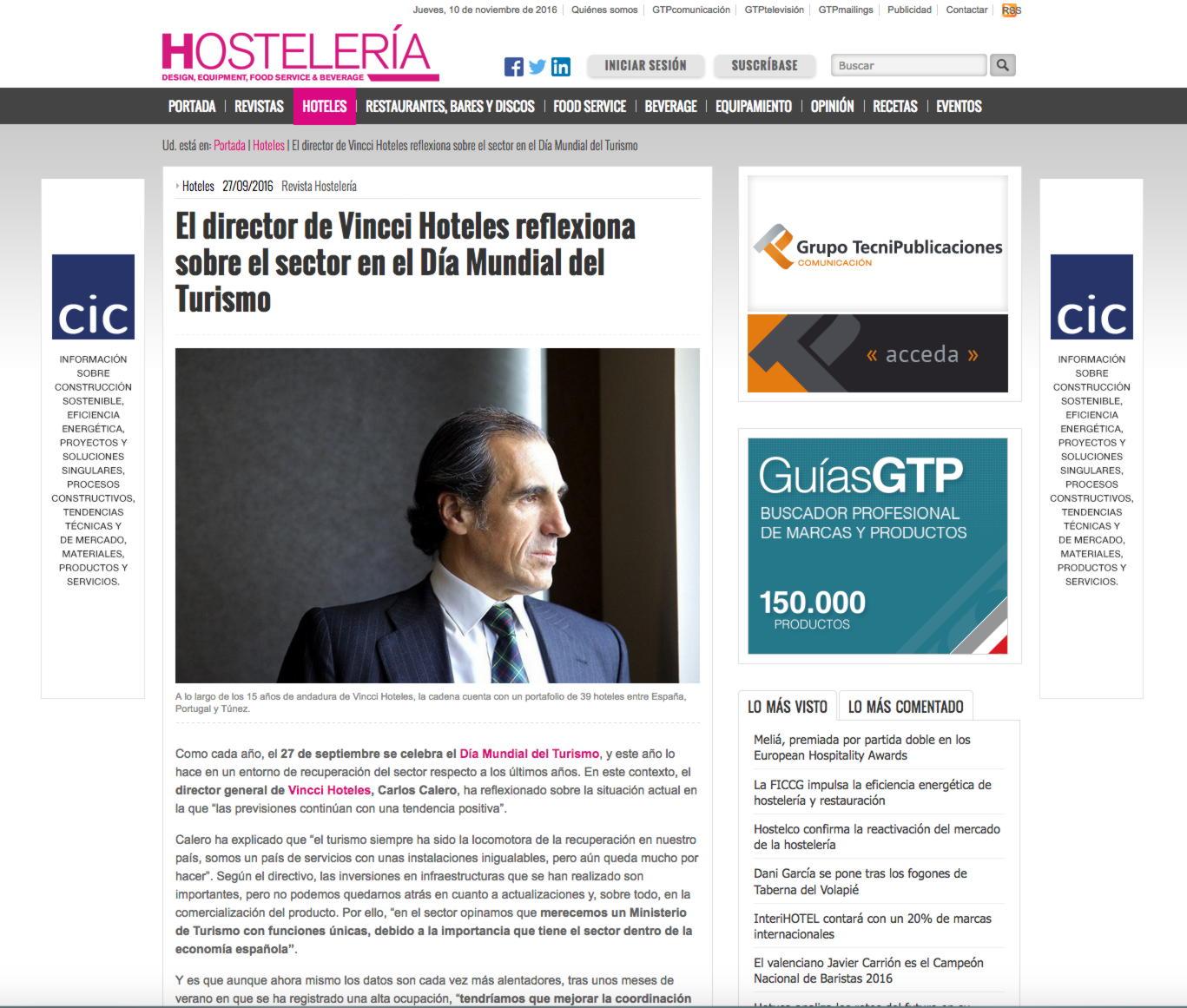 """""""El director de Vincci Hoteles reflexiona sobre el sector en el Día Mundial del Turismo"""""""