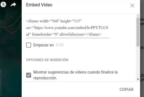 Insertar videos en Youtube
