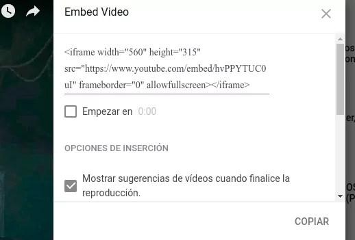Insertar videos en Youtube