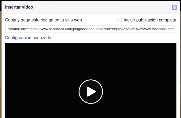 insertar video Facebook 2
