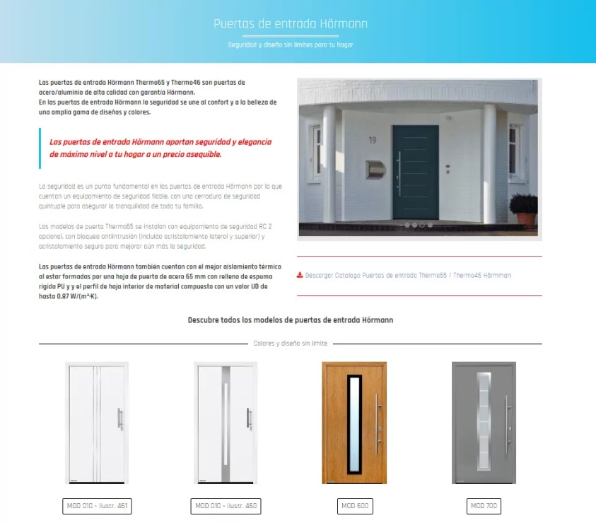 Renovar tu pagina web - Catálogo de puertas