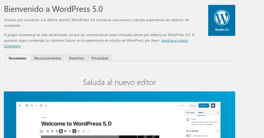 Diseño web con WordPress 5.0