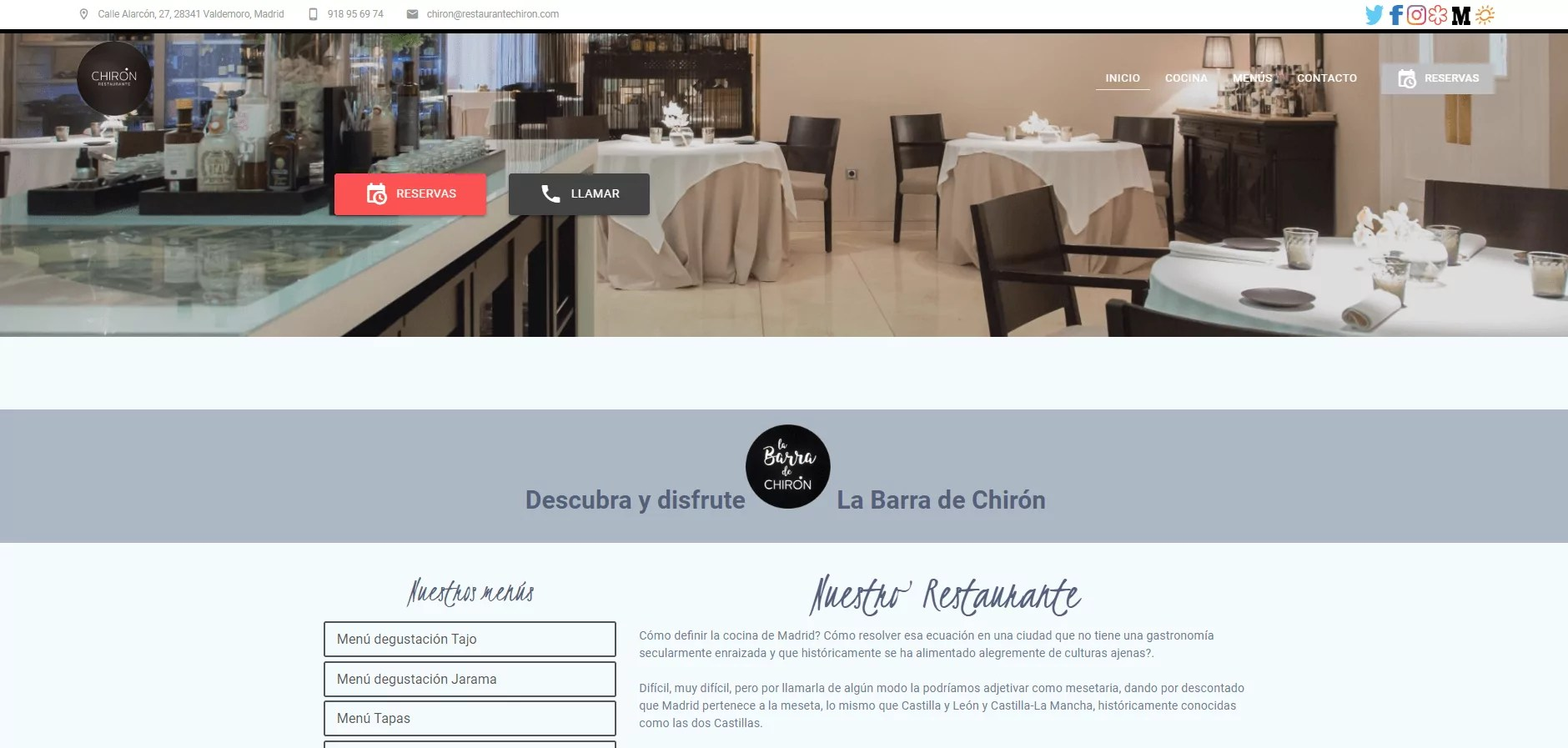 Diseño web para restaurante en Madrid