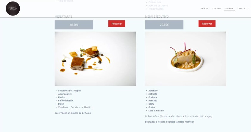Diseño web para restaurante 3