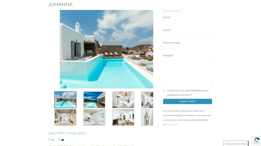 Diseño para web de viajes de lujo alquiler