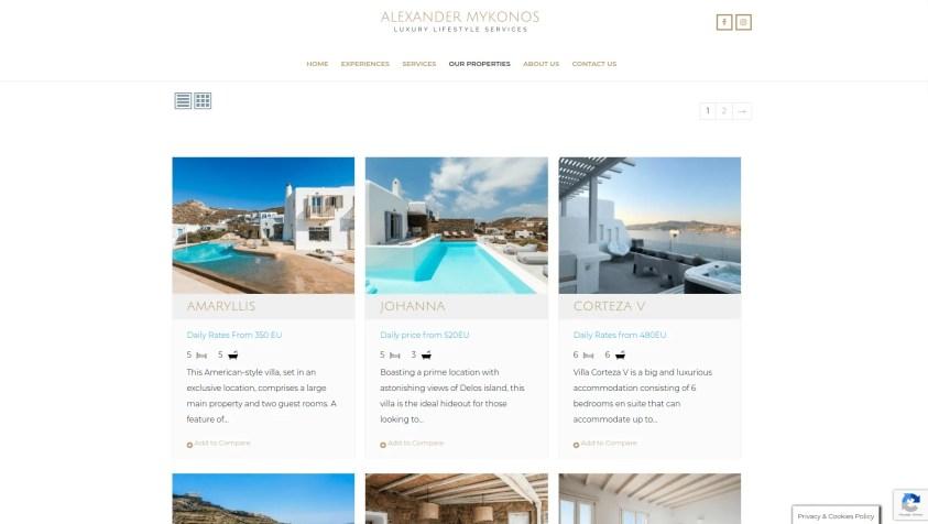 Diseño para web de viajes de lujo prpiedades