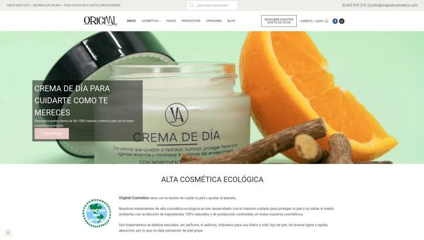 Diseño tienda ecommerce de cosmética - Origival Cosmetics