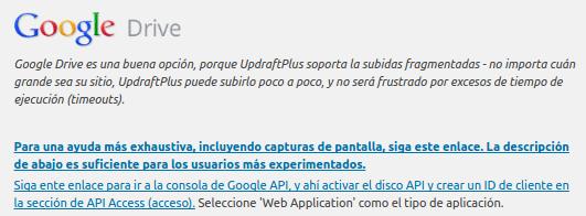 Configuracion UpdraftPlus 7