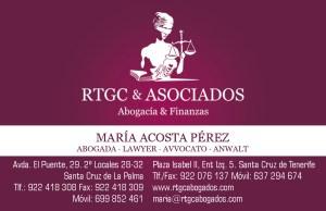 Diseño de Tarjeta de Visita RTGC & ASOCIADOS. Abogacía y Finanzas. La Palma. Tenerife.