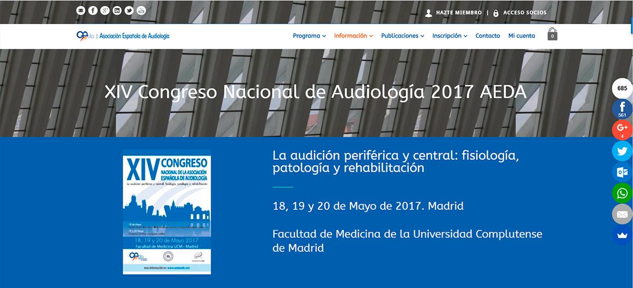 Diseño Web XIV Congreso Nacional Audiología AEDA 2017