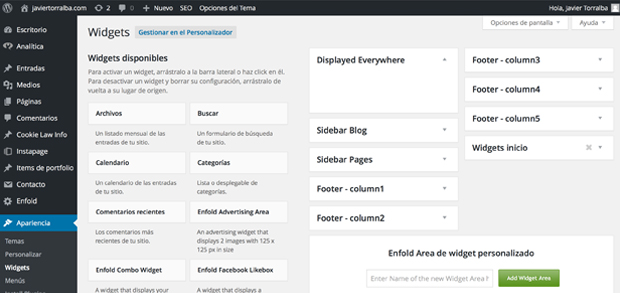 Area Widgets para WordPress
