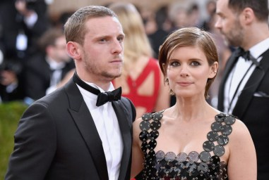 """NEW YORK, NY - MAY 02: Jamie Bell (L) and Kate Mara attend the """"Manus x Machina: Fashion In An Age Of Technology"""" Costume Institute Gala at Metropolitan Museum of Art on May 2, 2016 in New York City. (Photo by Mike Coppola/Getty Images for People.com)"""