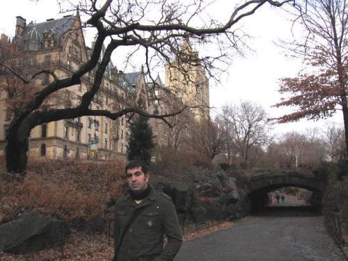 En Central Park, con el edificio Dakota al fondo. Año nuevo de 2008