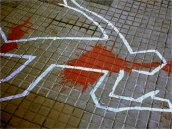 Figura de tiza en el suelo